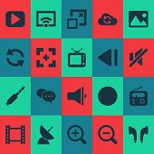 Media Icons Set With Image, Slow Backward, Synchronize And Other Previous Elements. Isolated Vector  poster