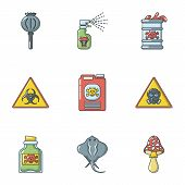 Chemical Structure Icons Set. Cartoon Set Of 9 Chemical Structure Vector Icons For Web Isolated On W poster