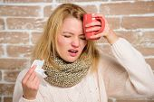 Woman Feels Badly Ill Sneezing. Girl In Scarf Hold Tissue Or Napkin Suffer Headache. Runny Nose Symp poster