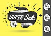 Today Only Mega Sale Banner. Big Super Sale. Vector Illustration, Special Offer Super,  Super Sale,  poster