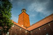 Stockholm City Hall (stadshuset) Brick Tower Building Of Municipal Council And Nobel Prize With Tre  poster