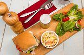 Vegetarian Burger A Light Lunch Of Vegetarian Burger And Salad poster
