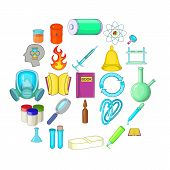Chemical Experiment Icons Set. Cartoon Set Of 25 Chemical Experiment Icons For Web Isolated On White poster