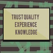 Writing Note Showing Trust Quality Experience Knowledge. Business Photo Showcasing Customer Quality  poster