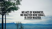Motivational And Inspirational Quote - No Act Of Kindness, No Matter How Small, Is Ever Wasted. Blur poster