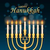Happy Hanukkah Concept Background. Realistic Illustration Of Happy Hanukkah Concept Background For W poster
