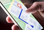 Map Application In Smartphone. Man Navigating In City With Mobile Phone. Person Using Cellphone And  poster