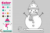 Snowman In Cartoon Style, Color By Number, Christmas Education Paper Game For The Development Of Chi poster