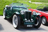 SCHWAEGALP - JUNE 27: Morgan MG Plus Four car (on the 7th International