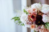 Wedding Flowers, Bridal Bouquet Closeup. Decoration Made Of Roses, Peonies And Decorative Plants, Cl poster
