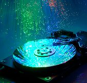 harddisk isolated on with fiber optical background more in my portfolio