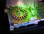 storage network with fiber optical background more in my portfolio