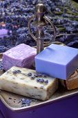 Natural Healthy Aromatherapy And Skin Treatment With Organic French Lavender, Lavender Soap On Purpl poster