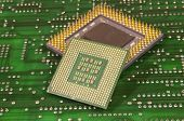 central microprocessors for a computer on a circuit board background