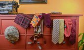 Mens  Garments. Clothing Concept For Men. Colorful Socks, Ties, Braces, Scarfs And Checked Flat Cap  poster