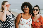 Cheerful diverse plus size women at the beach poster