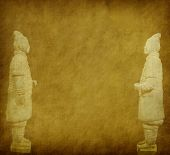 foto of qin dynasty  - terracotta army figure in china on old grunge antique paper texture - JPG