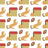 Playing Dog Character Funny Purebred Puppy Comic Happy Mammal Breed Animal Character Seamless Patter poster