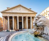 Pantheon In The Morning, Rome, Italy, Europe. Rome Ancient Temple Of All The Gods. Rome Pantheon Is  poster