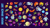 Space Hand Drawn Cartoon Vector Illustrations Set. Doodle Animal Astronauts, Ufo, Monsters, Planets  poster