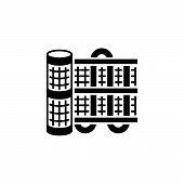 Black & White Vector Illustration Of Floor Heating System. Electric Radiant Heating. Flat Icon. Isol poster