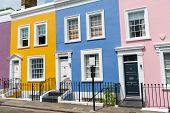 Colorful Row Houses Seen In Notting Hill, London poster