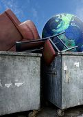 close up shot of dirty dumpsters and globe