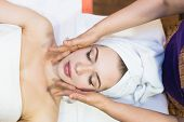 Beautiful Girl Enjoys Face Massage In Spa Salon. Procedures For Beauty And Rejuvenation. Thai Massag poster