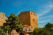 Kizil Kule Tower. City View From The Top Of The Fortress Wall, Red Tower. Alanya. Turkey poster