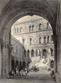 stock photo of luigi  - Antique illustration of Scala dei Giganti  - JPG