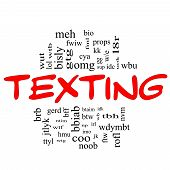Texting Word Cloud Concept In Red & Black