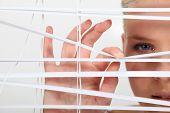girl behind blinds
