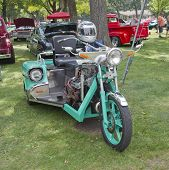 Aqua Blue Chevy Motorcycle Three Wheels
