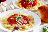 Spaghetti With Bread And Salad poster