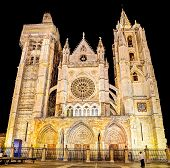 Cathedral of Leon, Spain at night