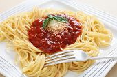 A plate of spaghetti with traditional pomodoro sauce topped with a sprig of basil and parmasan cheese