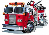 stock photo of fire brigade  - Vector Cartoon Fire Truck - JPG