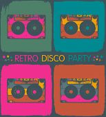Retro disco party invitation in pop-art style. Raster version, vector file available in portfolio.