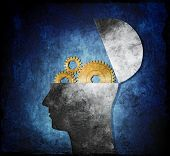 Raster collage illustration of an opened head with cog gears.