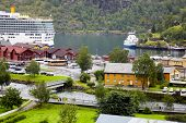 FLAM - JULY 27: Ships Costa Luminosa, Lady Elisabeth and Fjord Kongen in Flam cruise harbour, July 2