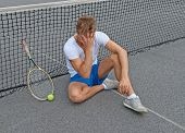 Lost Game. Disappointed Tennis Player.