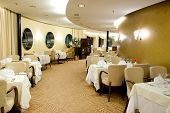 picture of cruise ship  - High Class Luxury Restaurant Interior white beige colors - JPG