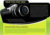 Fondo de catálogo o cartel de vector con cámara digital