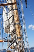 image of yardarm  - Mast yardarms rigging and sails of tall ship near Kirkland Washington - JPG