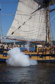 The Ketch, Hawaiian Chieftain, Fires Her Cannon