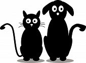 stock photo of animal cruelty  - vector illustration of cat and dog silhouette - JPG
