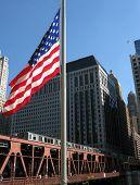 TRAIN AND U.S FLAG (Chicago, Illinois)