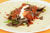 Making Beef Fajita Burrito