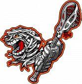 Halloween Mummy Monster With Lacrosse Stick Cartoon Vector Illustration