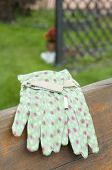 Green Garden Gloves On Bench